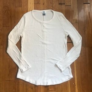 Old Navy Cream Ribbed Lightweight Sweater